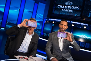 BT Sport presenters Gary Lineker and Rio Ferdinand test out their Google Cardboard VR headsets