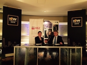 From Left to Right, Andrew Kwok, HGC's President of International and Carrier Business, and Andrew Dodsworth, Vice President, Global Telecom Markets, BT, sign agreement at ITW 2015.