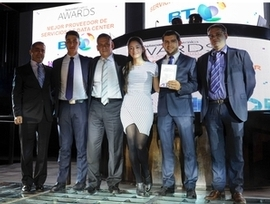 "Dairo Ortiz, IT&Data Centre Senior Marketing Manager holding the diploma which acknowledge BT Naos as the ""Best Data Centre Services Provider in Latam"""